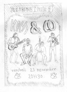 Création affiche concert KASS AND CO croquis