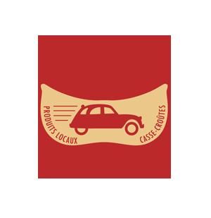 logo 2 CV rouge produits locaux & casse-croûtes