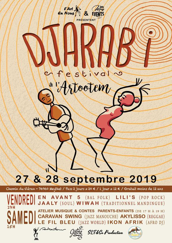 Création de l'affiche de DJARABI festival. 27 et 28 septembre 2019 à Annecy © Julie Miseray