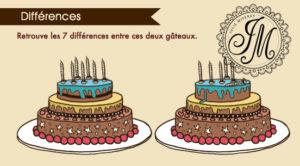 Création jeu 7 différences. Le gâteau d'anniversaire © Julie Miseray