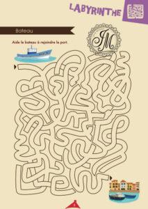 Création jeu du labyrinthe. Le bateau rejoins le port.