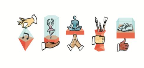 Série de 5 icônes représentant la musique, la danse, le bien-être, les arts et le sport.